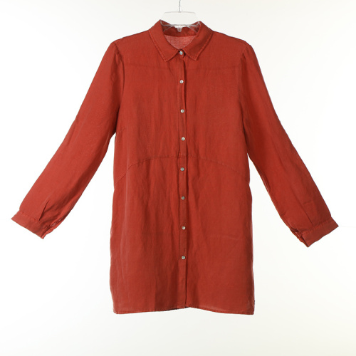 Garment Dye Linen/Viscose Long Blouse with Mother Pearl