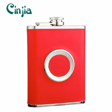 Multifunctional Red Leather Cover Hip Flask with a Portable Cup
