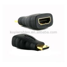 Macho mini HDMI chapado en oro a HDMI conector hembra del adaptador (tipo C) a (tipo A)