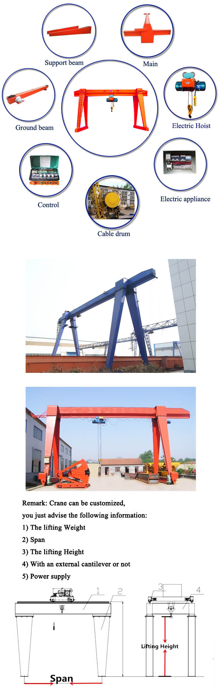 electric hoist single girder gantry crane