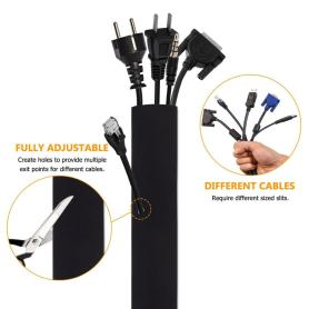 Neoprene Cable Organizer Wrap Cable Sleeve dengan Zipper