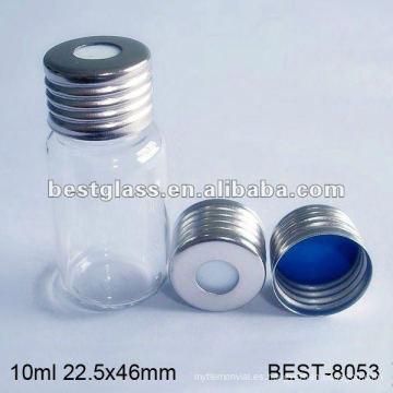 Vial de cabeza hueca de 10 ml con tapa de aluminio, vial de espacio libre claro con tapa de aluminio