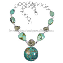 Tibetan Turquoise And Pyrite Gemstone 925 Sterling Silver Necklace