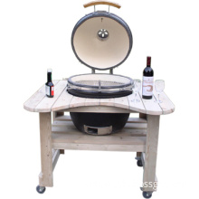 wooden table ceramic pizza oven