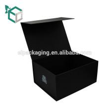 Fabrik Preis Dye-Throug Black Soft Touch zusammenklappbare magnetische Geschenkbox