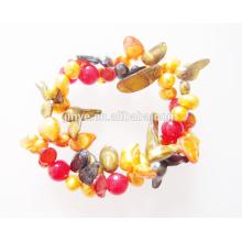 Boho Elastic Gemstone Pearl Bracelet