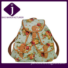 2014 Blue Flowers Printed Canvas Backpack