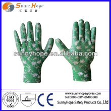 13G printed patterns nylon shell work nitrile glove