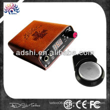 Wireless rechargeable tattoo power supply, battery tattoo power supply with foot switch