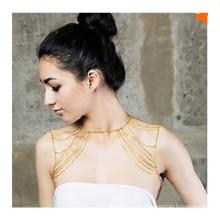 Moda ouro cor ombro correntes corpo jóias para as mulheres
