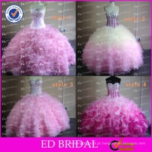 ED Bridal Pink Ball Gown Real Sample Ruffle Organza Crystal Beaded Western Quinceanera Vestidos