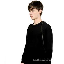 Negro Moda Pecho Zipper Sudaderas de algodón de manga larga