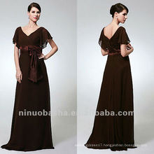 Sheath Chiffon Sweep Train Bowknot Empire Fluttering Sleeves Mother Of The Bridal Dress Party Gown