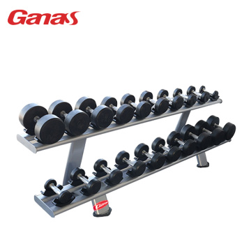Peralatan Gim Komersial 2-Tier Dumbbell Rack 10 Pairs