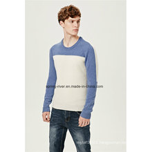 Nylon Lambswool Round Neck Knit Sweater for Men