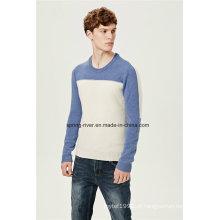 Nylon Lambswool rodada pescoço tricotar camisola para homens