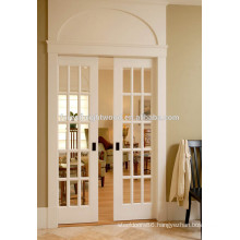 15 Lites White Hinged French Doors, Glass Pocket Doors