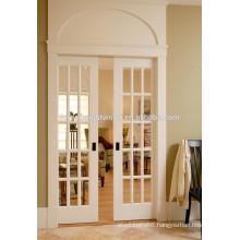 15 Lites White Hinged French Doors, Glass Pocket Doors