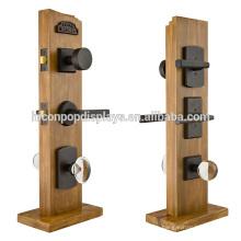 Hardware Store Door Handle Display Stand, Custom Size Solid Wood Tabletop Door Lock Display Stands