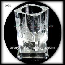 K9 Crystal Pen Holder con imagen grabada al agua fuerte