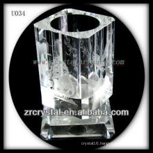 K9 Crystal Pen Holder with Image Etched