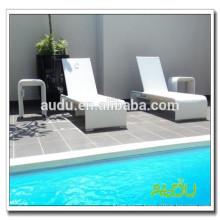 Audu White Aluminium Rattan Poolside Sunbed