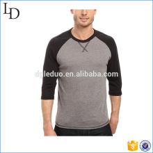 Прямой подол комбинации цвета бейсбол футболки оптовая 3/4 рукав тройник