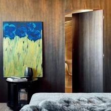 Puertas invisibles antiguas de madera maciza para baño