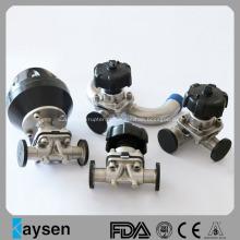 Válvulas de diafragma pneumáticas sanitárias com extremidades de braçadeira