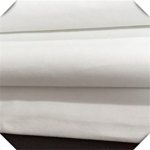 White Poly Cotton Blend Twill Weave Fabric