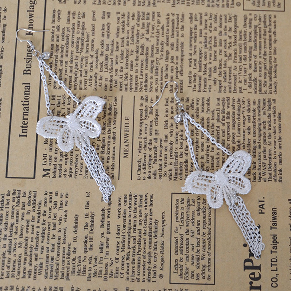 White Sexy Butterfly Lace Earring