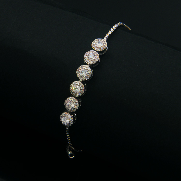 Zircon Brass Gold Thin Link Bracelet For Women