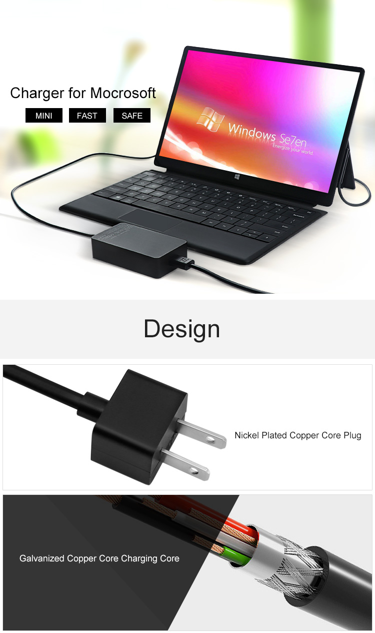 44W 15V 2.58A Power Adapter Charger for Microsoft