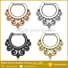 Rose Gold Tribal Indian Nariz Anel Hoop Septo Clicker