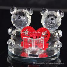 Figurines d'ours en cristal de mode pour le cadeau de mariage