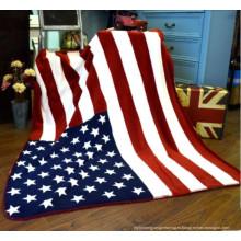 100% полиэстер Coral Fleecethe Соединенные Штаты Flag Blanket