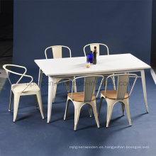 Industrial Cafe Laca Blanca Tolix mesa y silla conjunto (SP-CT673)