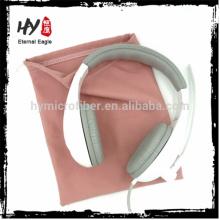 Cheap personalizado microfibra pequeno fone de ouvido com cordão bolsa