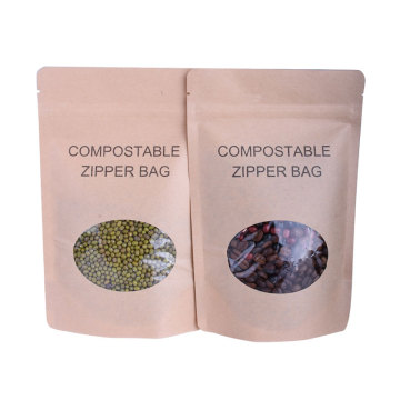 Stock Kraft Paper Packaging Stand Up Pouch With Ziplock And Clear Window
