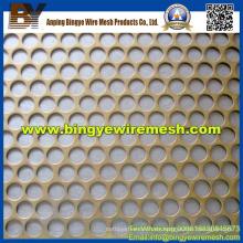 Malla metálica perforada utilizada en decoración