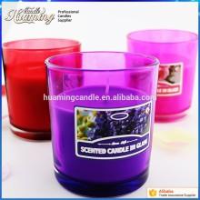 유리 항아리 다채로운 종교 촛불