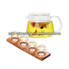 Set de tetera y vaso de cristal de licor de borosilicato hecho a mano