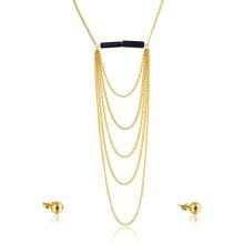 Banhado A Ouro Cadeia De Casamento Em Camadas Moda Nupcial Fine Jewelry Set Jóias