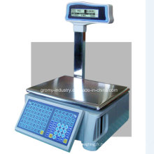 Electronic OIML Label de prix Barcode Printing Scale with Pole Display