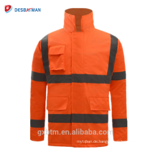 ANSI 107 reflektierende Warnschutz-Winter-Sicherheits-Jacke imprägniern hallo Vis Workwear Parka-Orangen-Regenmantel