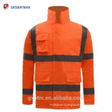 ANSI 107 Reflective High Visibility Winter Safety Jacket Waterproof Hi Vis Workwear Parka Orange Raincoat