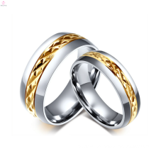 2017 titanium steel plating gold ring lock design for couples