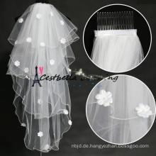 2016 Heiße verkaufende reizend Elfenbein-Kurzschluss 4 Schichten Brautschleier für Hochzeit