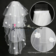 2016 Hot selling charming Ivory Short 4 layers bridal veils for wedding