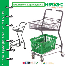 basket shopping cart,trolley shopping,2 tier trolley for supermarket